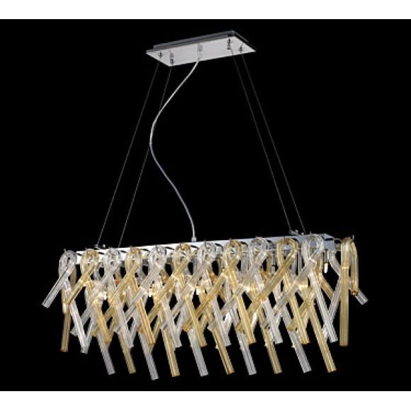 Κρεμαστή ράγα με βάση απο χρώμιο και γυαλι σε διάφανο και μελί χρώμα. sunlight 2137-11P Φωτιστικά μοντέρνα