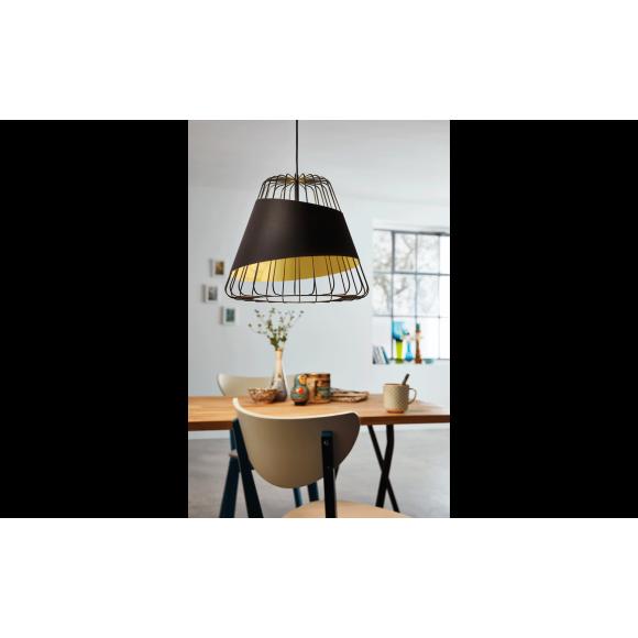 Vintage Κρεμαστό Φωτιστικό Μονόφωτο Σε Μαύρο - Χρυσό AUSTELL Eglo 49509
