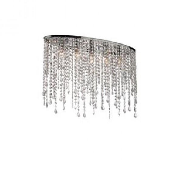 φωτιστικα οροφης Ideal Rain Clear Μοντέρνο Φωτιστικό Οροφής Χρωμίου Με Κρύσταλλους 5Φ