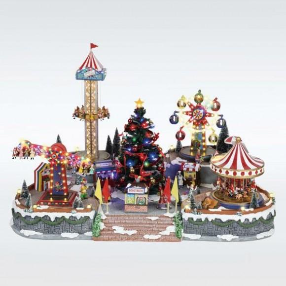 Φωτιζόμενο Λούνα Παρκ Με Χριστουγεννιάτικο Δέντρο Με Μουσική Κίνηση Και Μετασχηματιστή 94X65X63CM 600-43428 eurolamp