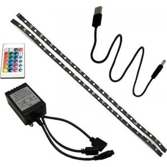 Spotlight Σετ Ταινίας LED Οπίσθιου Φωτισμού TV Με RGB Και Controller 7,2W/M IP20 2x50cm