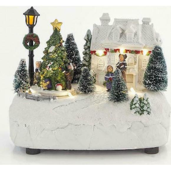 Χωριό Με Χριστουγεννιάτικο Δέντρο 19x13.5x15.5cm 600-43401 Eurolamp